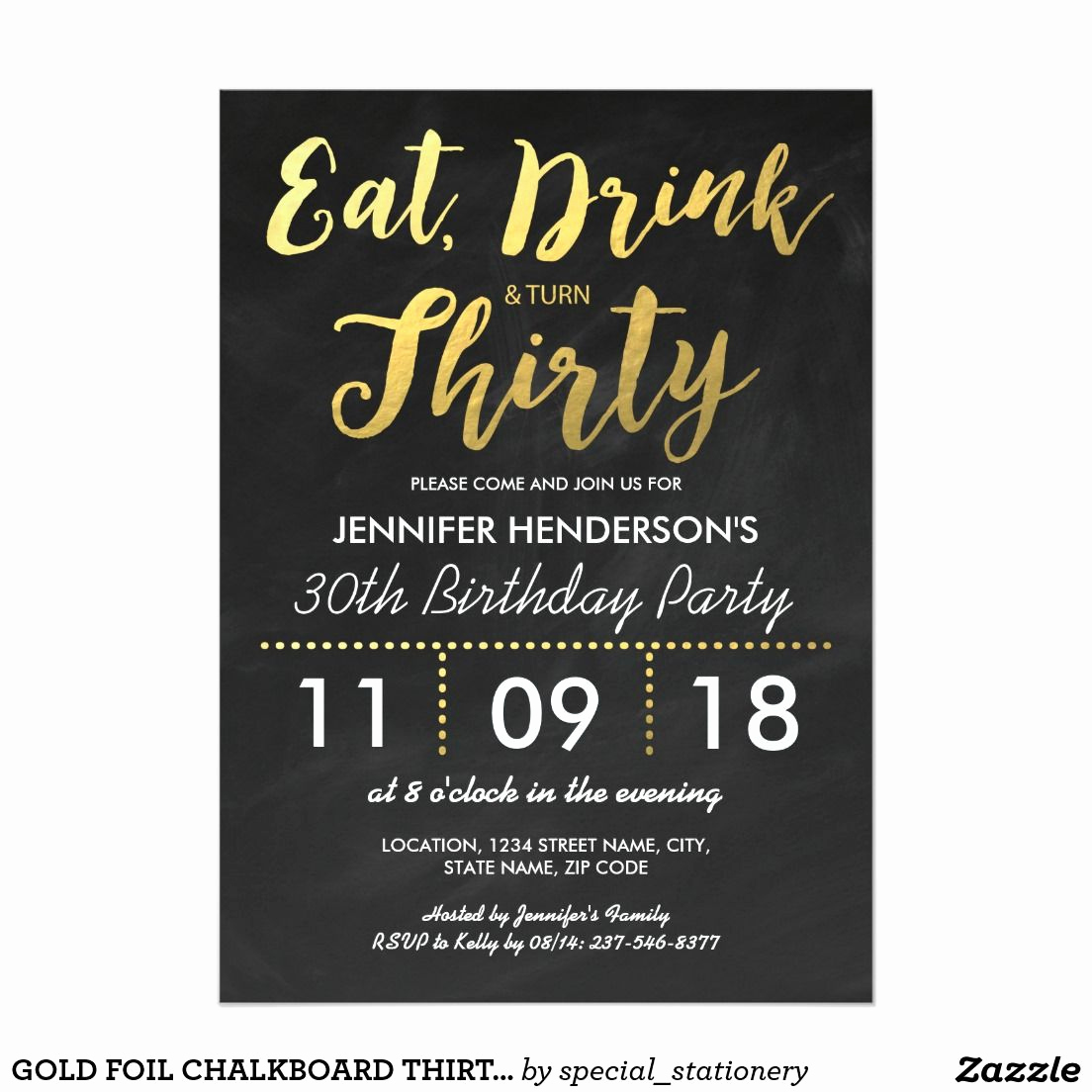 30th Birthday Invitation Wording Awesome Gold Foil Chalkboard Thirty Birthday