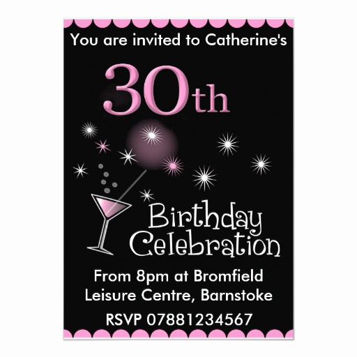 30th Birthday Invitation Wording Beautiful 30th Birthday Party Invitation Cocktail Glass