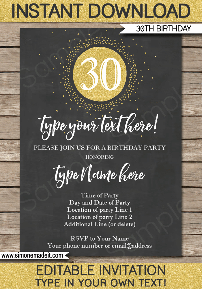 30th Birthday Invitation Wording Beautiful Chalkboard 30th Birthday Invitations Template