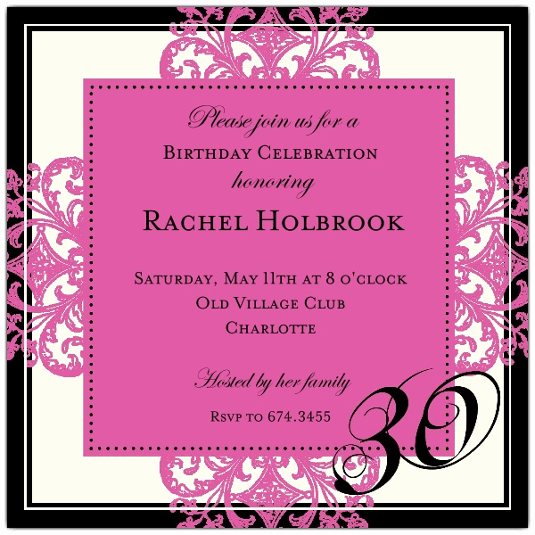 30th Birthday Invitation Wording Elegant Decorative Square Border Pink 30th Birthday Invitations