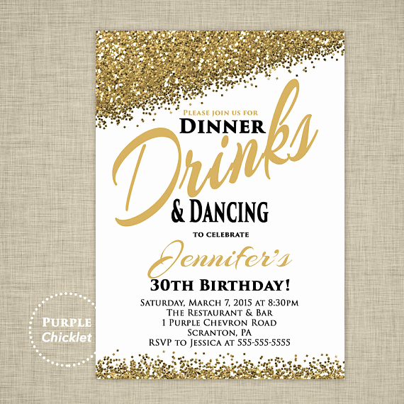 30th Birthday Invitation Wording Fresh 30th Any Age Birthday Invitation Dinner Drinks and Dancing