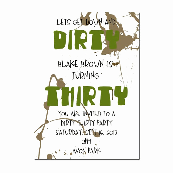 30th Birthday Invitation Wording Funny Fresh Dirty Thirty Party Invitation Surprise Party Invitation