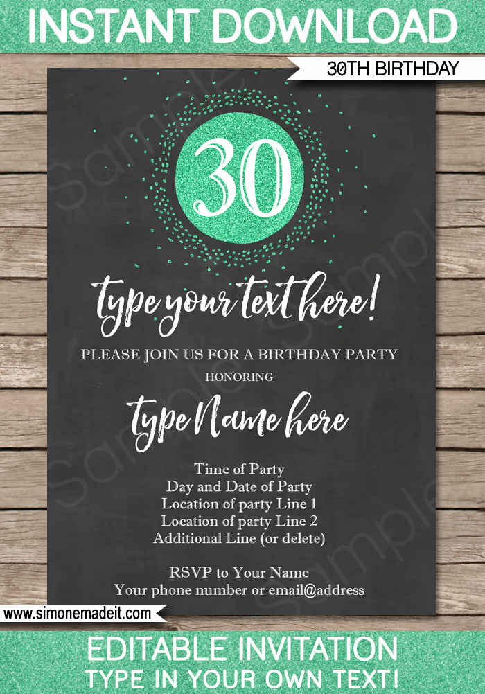 30th Birthday Invitation Wording Funny Lovely Chalkboard 30th Birthday Invitations Template