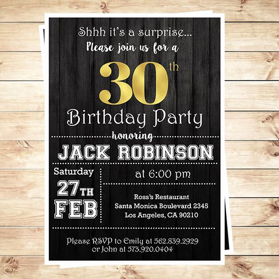 30th Birthday Invitation Wording Inspirational 30th Birthday Surprise Party Gold & Black Mens 30th