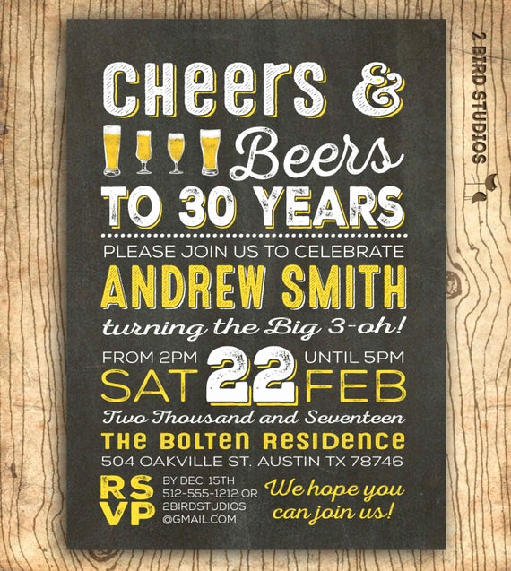30th Birthday Invitation Wording Inspirational Cheers and Beers to 30 Years Invitation 30th Birthday