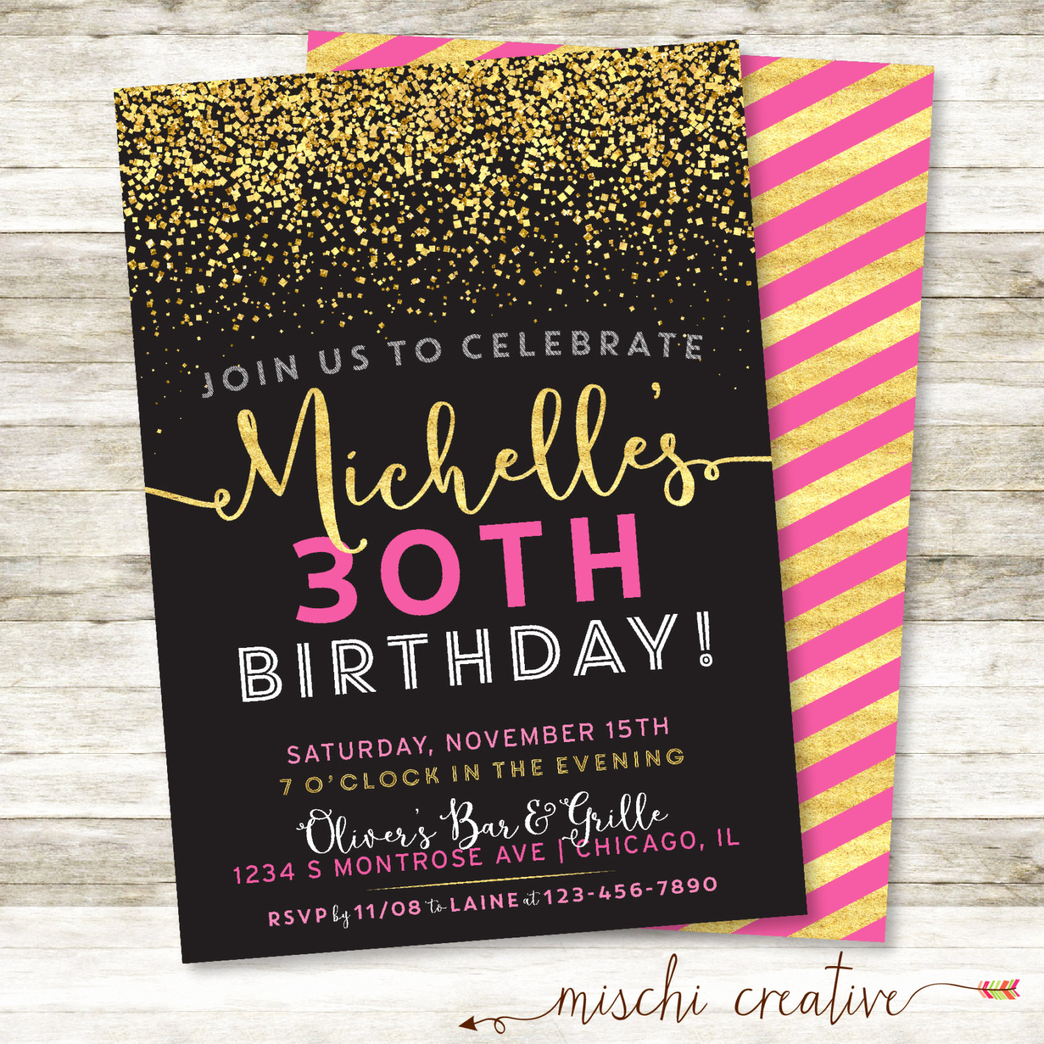 30th birthday invitation sparkle