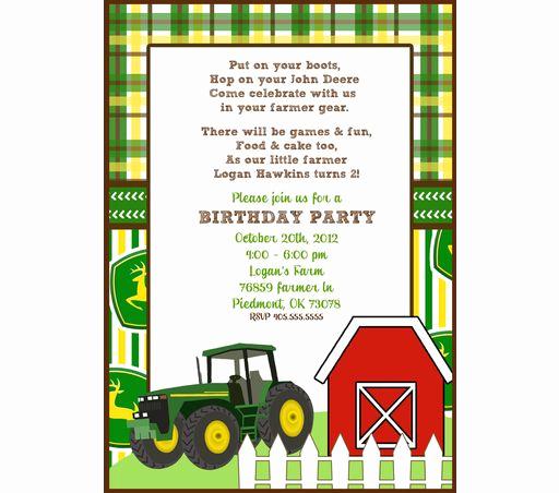3rd Baby Shower Invitation Wording Elegant John Deere Party Invitation Free Printable