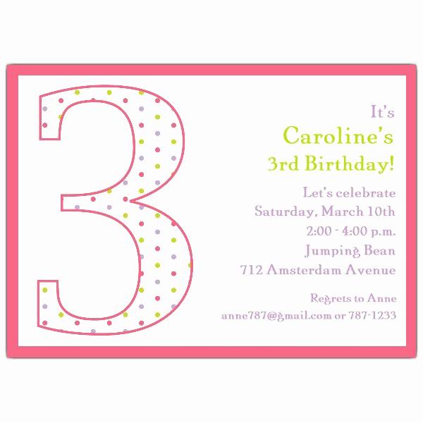 3rd Baby Shower Invitation Wording Fresh 3rd Birthday Girl Dots Invitations