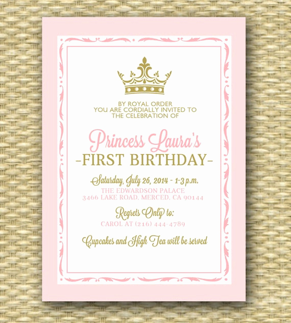 3rd Baby Shower Invitation Wording Inspirational Pink and Gold Princess First Birthday Invitation Royal Baby