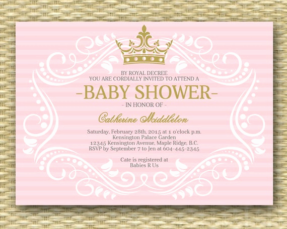3rd Baby Shower Invitation Wording Inspirational Royal Princess Baby Shower Invitation Little Princess Baby
