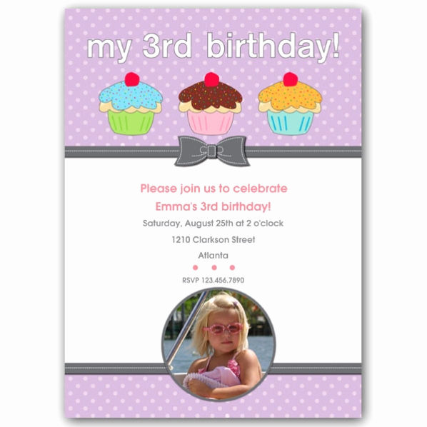 3rd Baby Shower Invitation Wording Lovely Three Cupcakes Girl Third Birthday Invitations