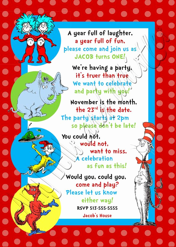 3rd Baby Shower Invitation Wording New Custom Personalized Dr Seuss 1st 2nd or 3rd Birthday