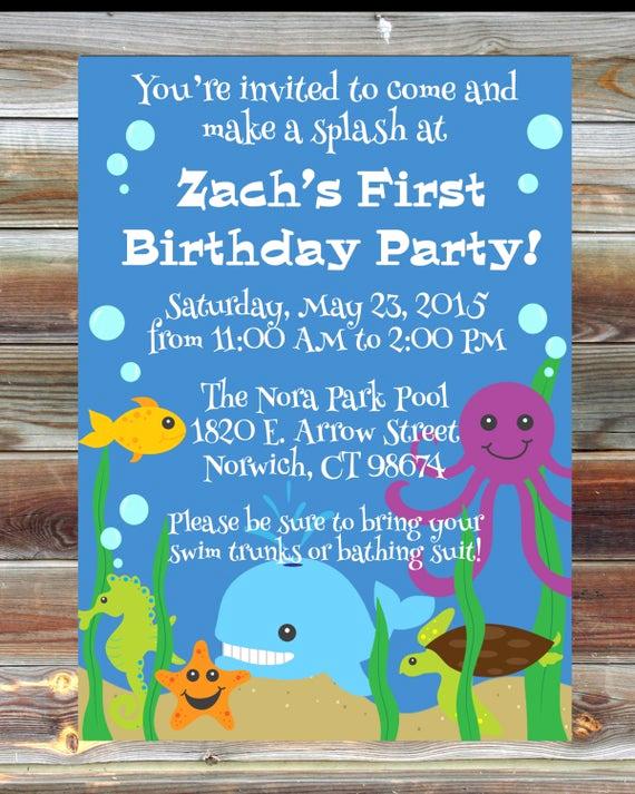 3rd Birthday Invitation Wording Beautiful Ocean theme First Birthday Invitation 1st 2nd 3rd Birthday