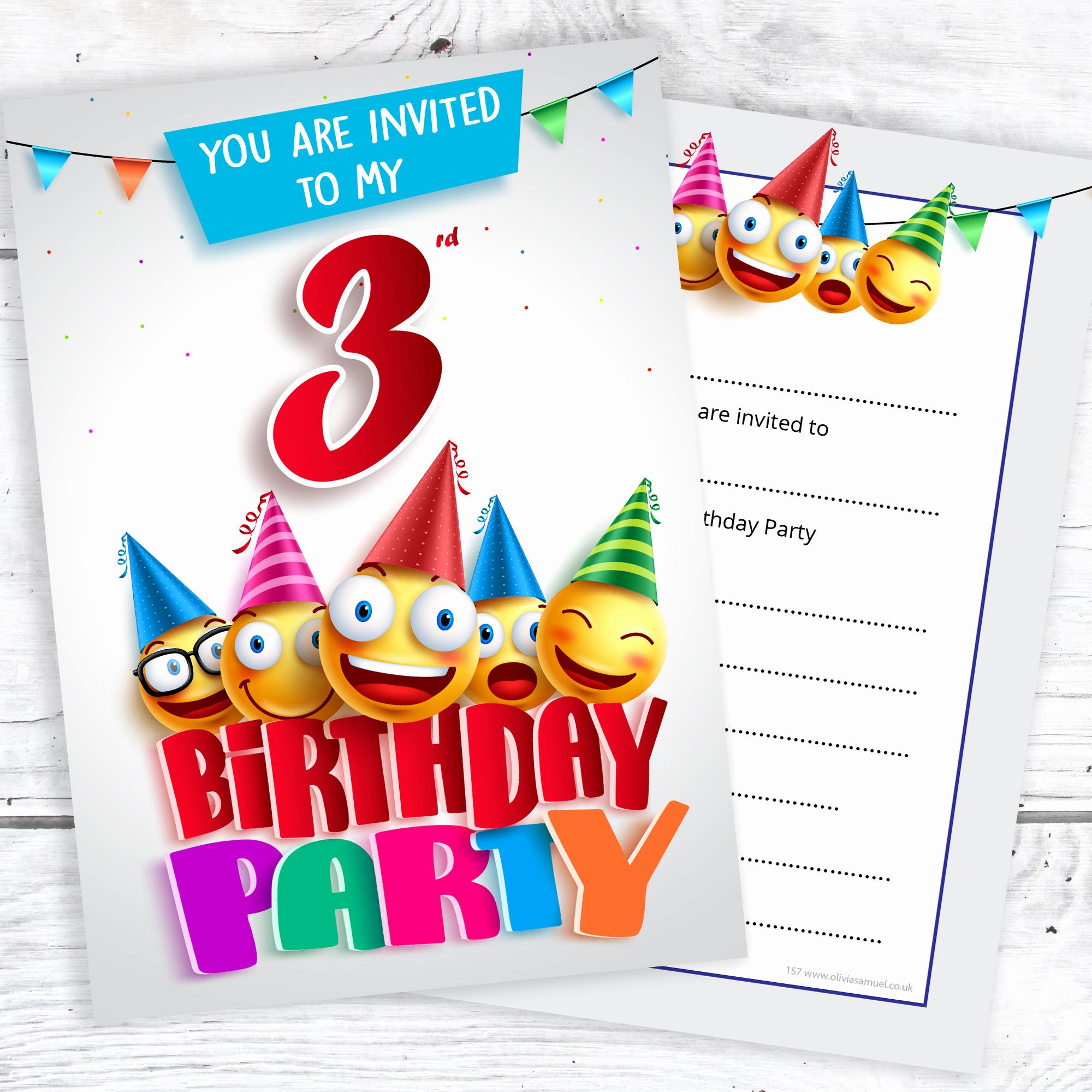 3rd Birthday Invitation Wording Best Of 3rd Birthday Party Invites – Emoji Style – Ready to Write