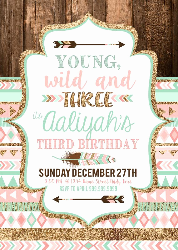 3rd Birthday Invitation Wording Elegant Pink Young Wild and Three Invitations and Printable