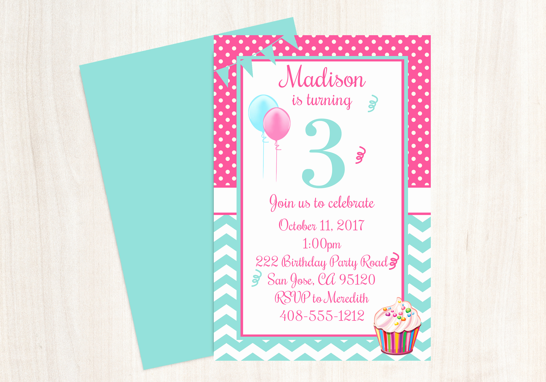 3rd Birthday Invitation Wording Fresh 3rd Birthday Party Invitation 3rd Birthday Third Birthday