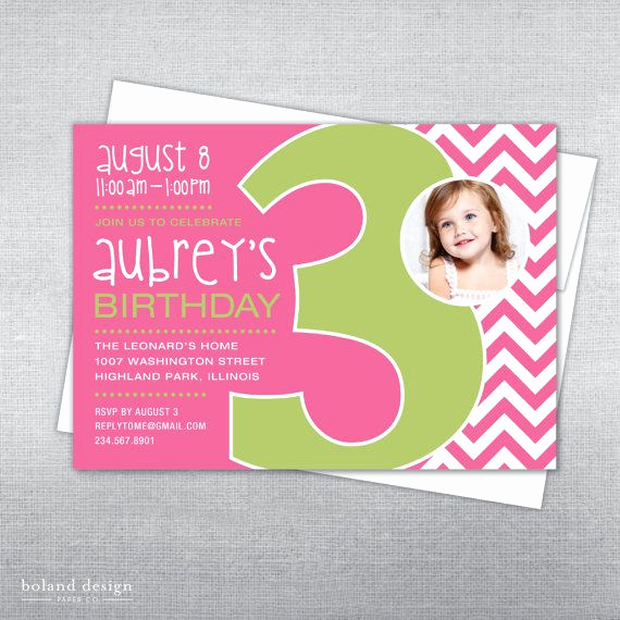 3rd Birthday Invitation Wording Inspirational 3rd Birthday Invitation Chevron Printable