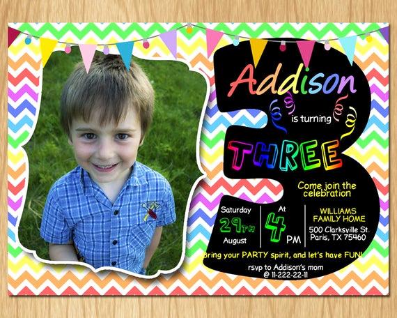 3rd Birthday Invitation Wording Luxury 3rd Birthday Invitation Rainbow Chevron Pastel Third
