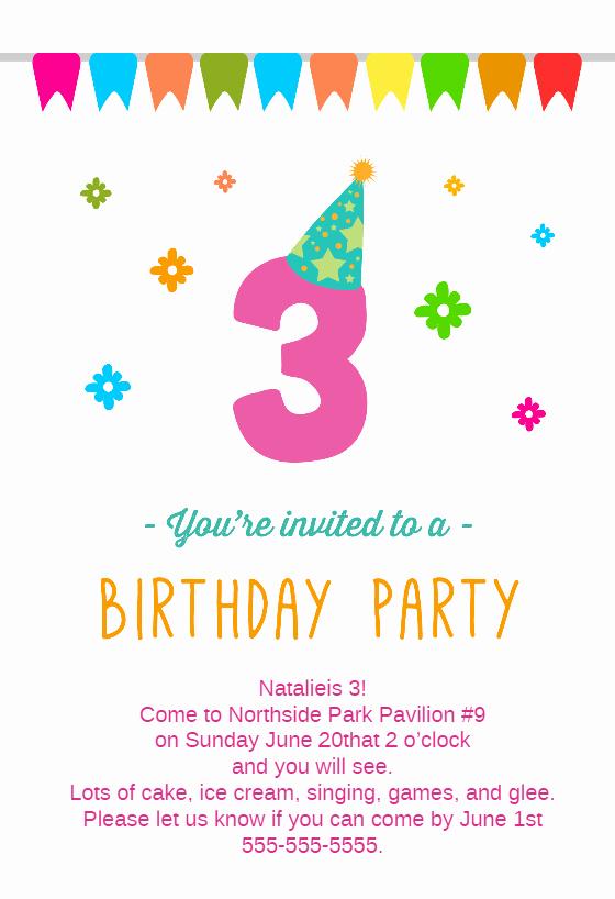 3rd Birthday Invitation Wording Luxury 3rd Birthday Party Free Birthday Invitation Template