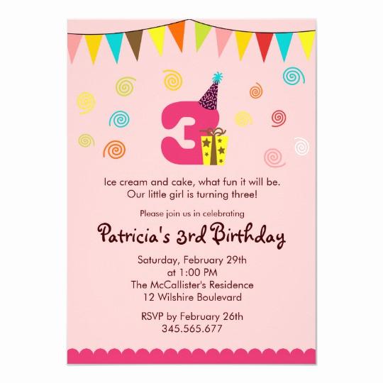 3rd Birthday Invitation Wording New 3rd Birthday Children S Party Invitation