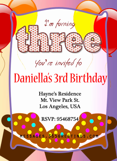 3rd Birthday Invitation Wording New 3rd Birthday Invitations 365greetings