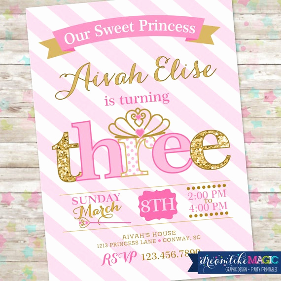 3rd Birthday Invitation Wording New Princess Birthday Invitation 3rd Birthday Party Invite Pink