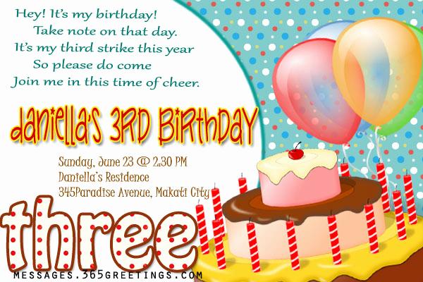 3rd Birthday Invitation Wording Unique 3rd Birthday Invitations 365greetings