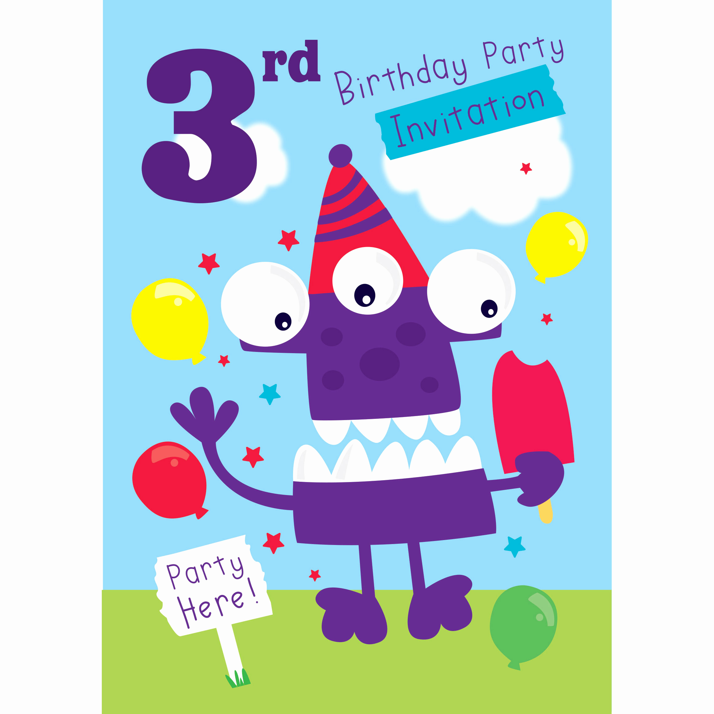 3rd Birthday Invitation Wording Unique 3rd Birthday Party Supplies