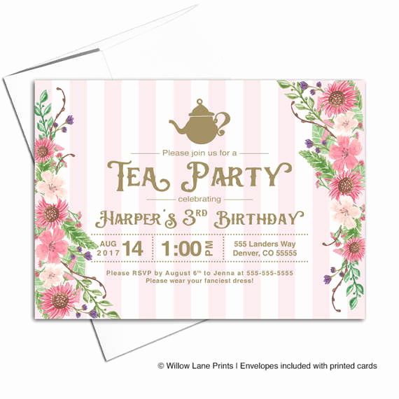 3rd Birthday Invitation Wording Unique Girls Tea Party Invitations Third 3rd Birthday