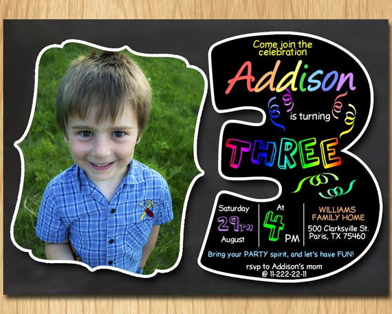 3rd Birthday Party Invitation Wording Awesome 3rd Birthday Invitation Chalkboard Invite Rainbow Colors