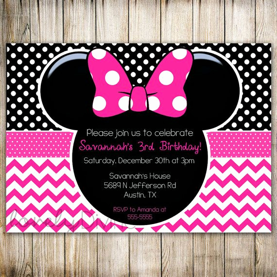 3rd Birthday Party Invitation Wording Awesome Minnie Mouse Chevron Birthday 1st Birthday Invitation