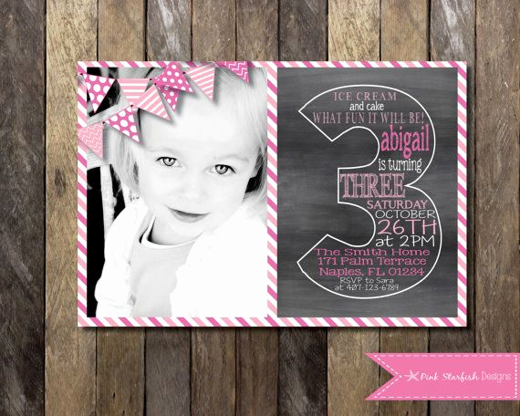 3rd Birthday Party Invitation Wording Best Of Chalkboard Third Birthday Invitation by