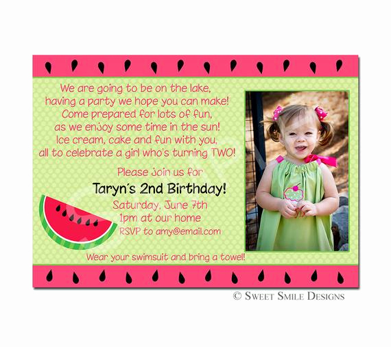 3rd Birthday Party Invitation Wording Best Of Items Similar to Birthday Invitation Watermelon
