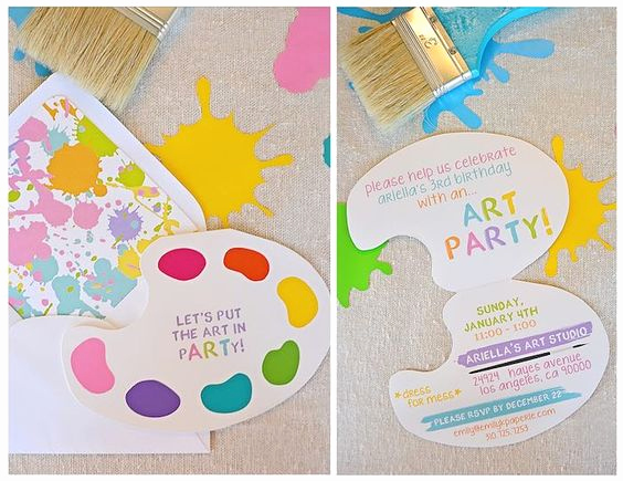 3rd Birthday Party Invitation Wording Elegant Art themed 3rd Birthday Party Via Kara S Party Ideas the