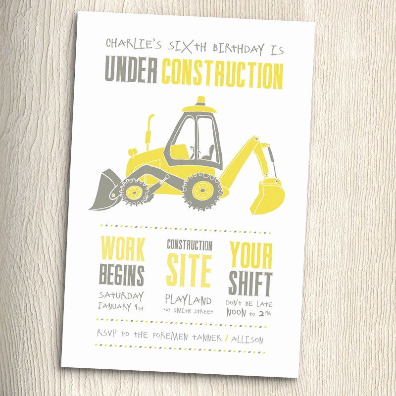 3rd Birthday Party Invitation Wording Elegant Construction Birthday Party Invitation with Matching Thank