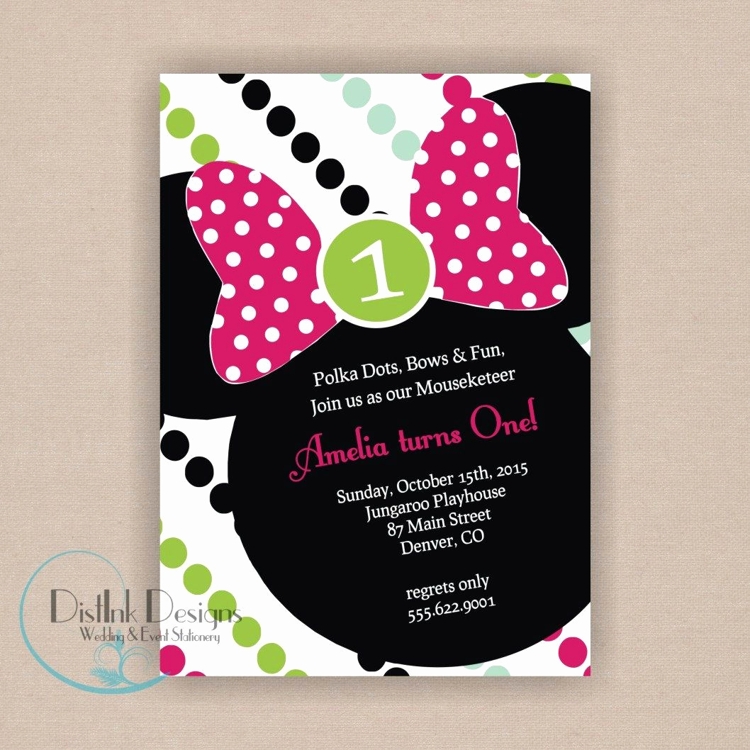 3rd Birthday Party Invitation Wording Lovely Minnie Mouse Birthday Party Invitation Printable 5x7
