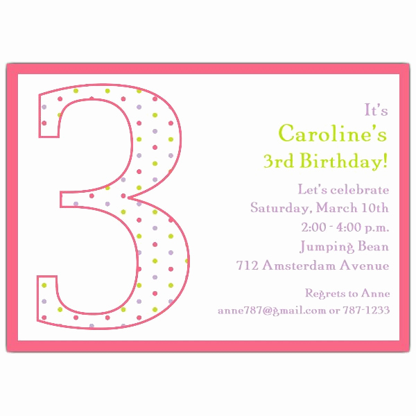 3rd Birthday Party Invitation Wording Luxury 3rd Birthday Girl Dots Invitations