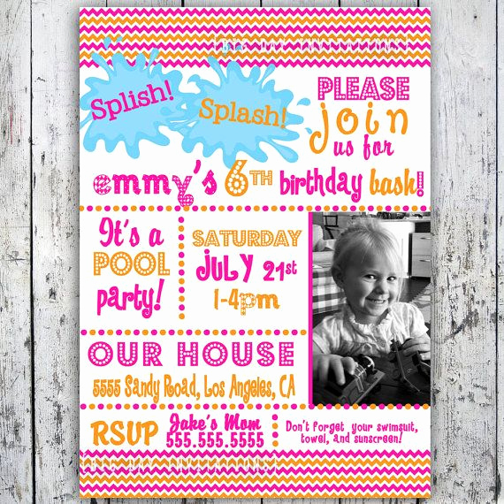 3rd Birthday Party Invitation Wording Luxury Pool Party Birthday Invitation