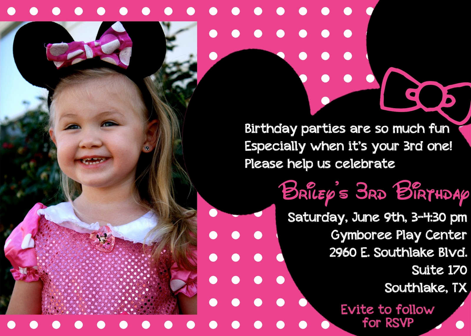 3rd Birthday Party Invitation Wording Luxury the Bufe Family Minnie Mouse 3rd Birthday Party
