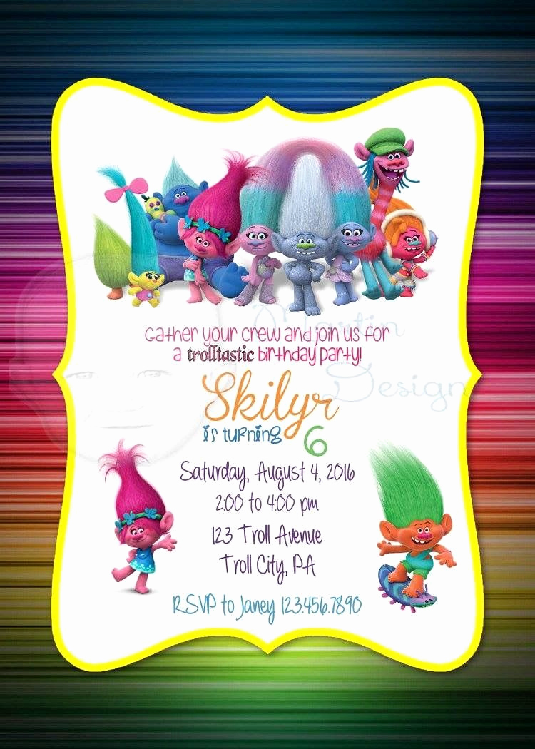 3rd Birthday Party Invitation Wording Luxury Trolls Invitation Azlinn