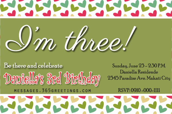 3rd Birthday Party Invitation Wording New 3rd Birthday Invitations 365greetings