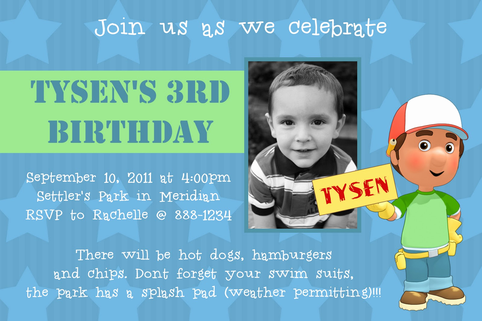 3rd Birthday Party Invitation Wording New Kayleigh S Kreations Handy Manny Birthday Invitation
