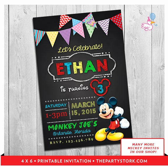 3rd Birthday Party Invitation Wording Unique Mickey Mouse Clubhouse Invitations Printable Personalized Boy