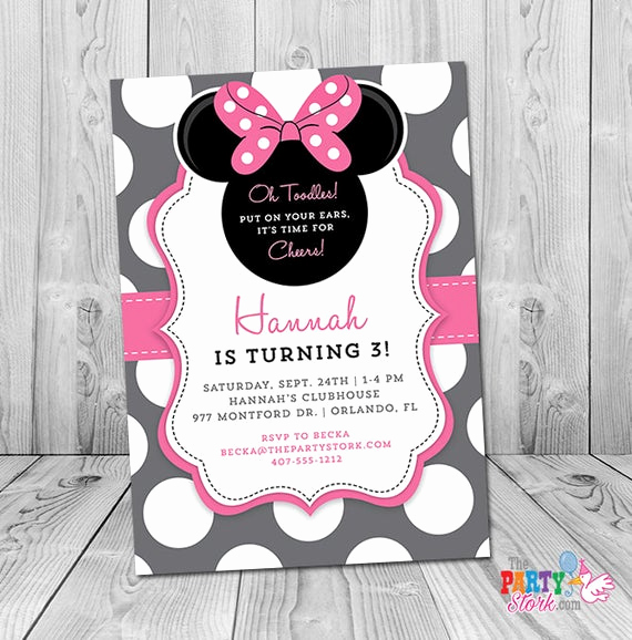 3rd Birthday Party Invitation Wording Unique Minnie Mouse 3rd Birthday Invitation Minnie Mouse Birthday
