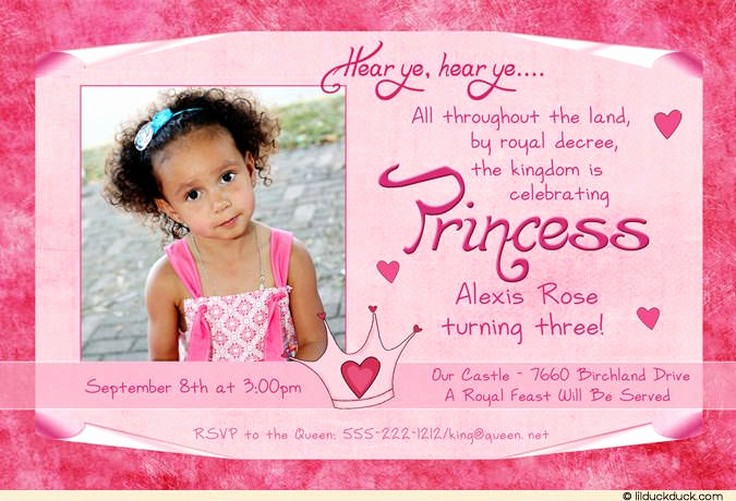 3rd Birthday Party Invitation Wording Unique Pink Princess 3rd Birthday Proclamation Royal Invitation