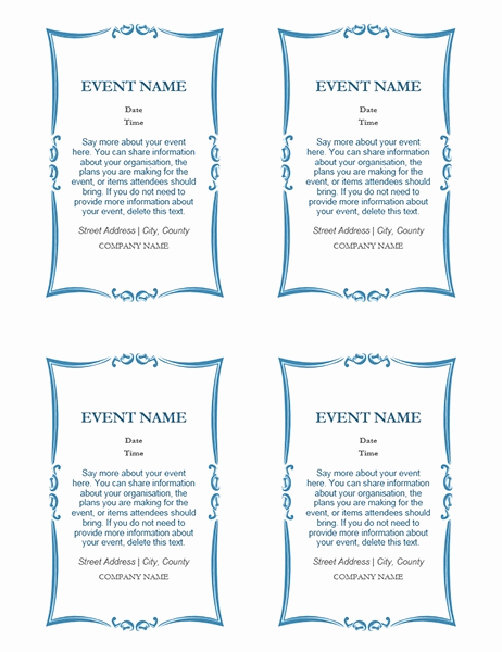 4 Per Page Invitation Template Awesome Invitation Template 4 Per Page