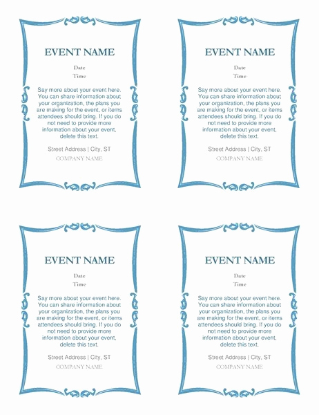 4 Per Page Invitation Template Luxury Awesome Microsoft Word Invitation Templates 4 Per Page