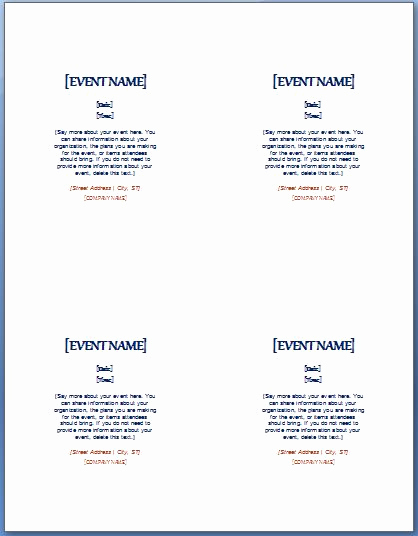 4 Per Page Invitation Template New event Invitation Template 4 Per Page