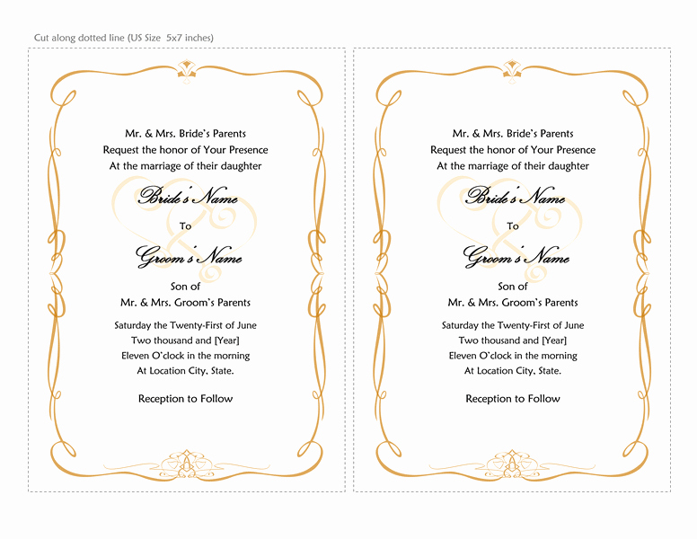 4 Per Page Invitation Template New Wedding Invitations Heart Scroll Design A7 Size 2 Per Page