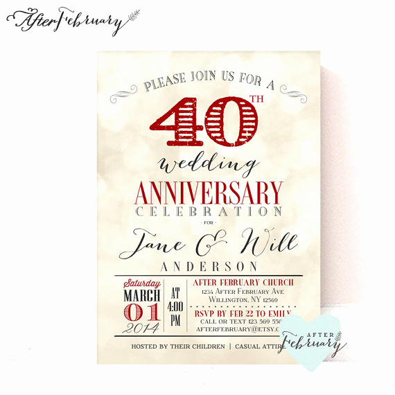 40th Anniversary Invitation Wording Awesome 40th Anniversary Invitation Ruby Red Wedding Anniversary
